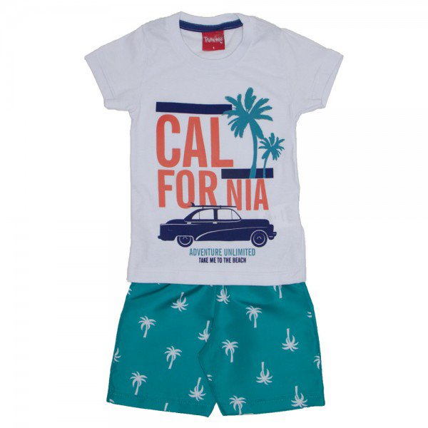 conjunto menino california camiseta branca e bermuda de tactel verde ceramic 4226 01