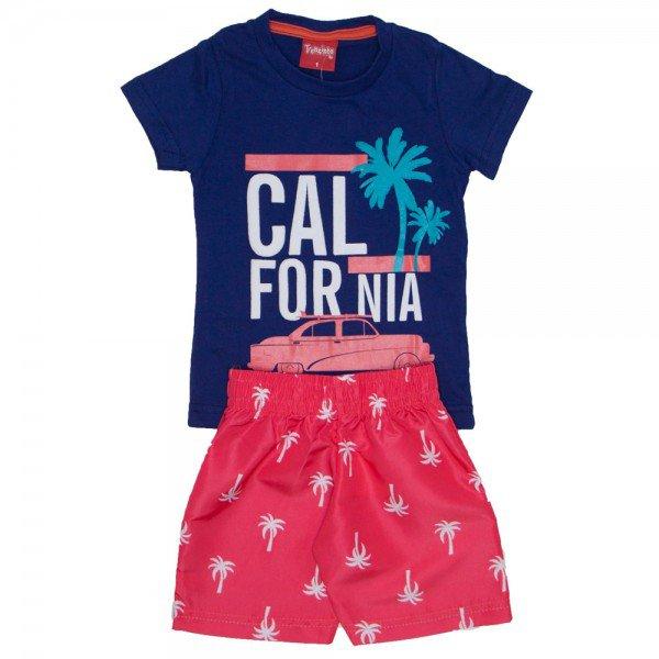 conjunto menino california camiseta marinho e bermuda de tactel coral 4226