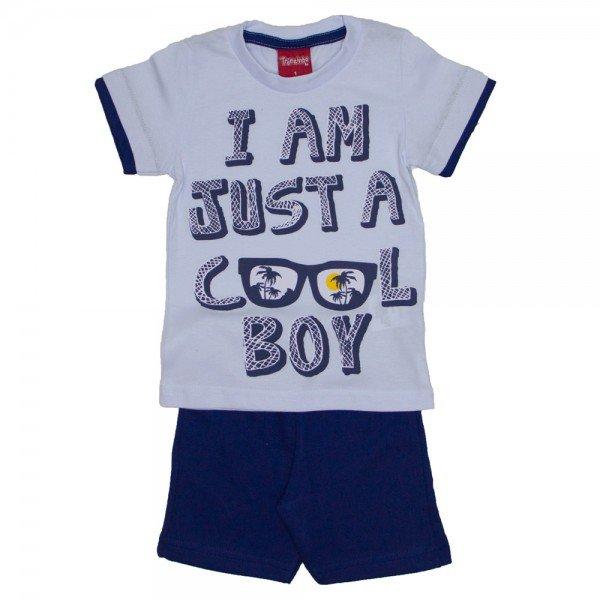 conjunto menino cool boy camiseta branca e bermuda de moletinho marinho 4228 02