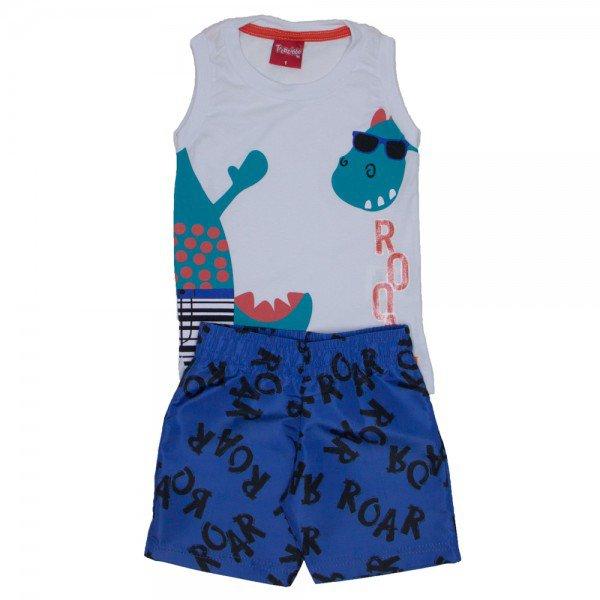 conjunto menino regata machao branca e bermuda de tactel azul blue lolite 4232 01