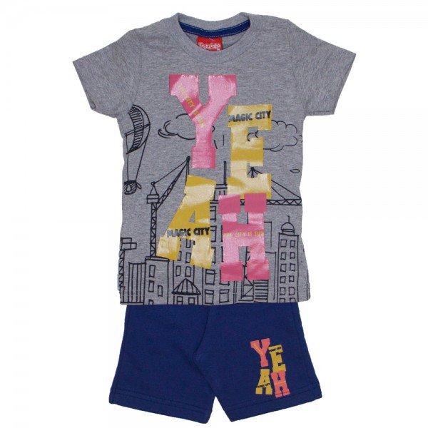 conjunto menino yeak camiseta mescla e bermuda de moletinho marinho 4229 02