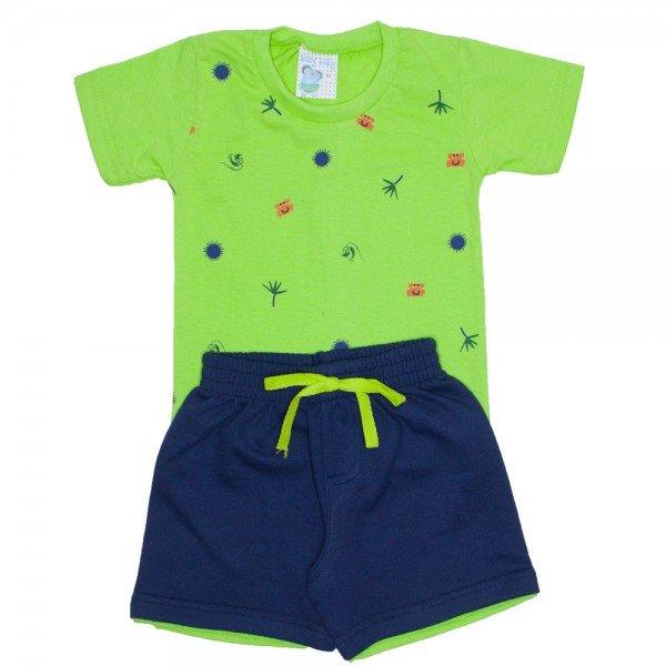 Conjunto Menino Camiseta verde Shorts moletinho Azul ALE 2406 VRD 01