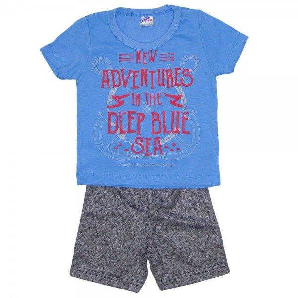 conjunto menino camiseta azul adventures e bermuda de moletinho mescla 0316 02