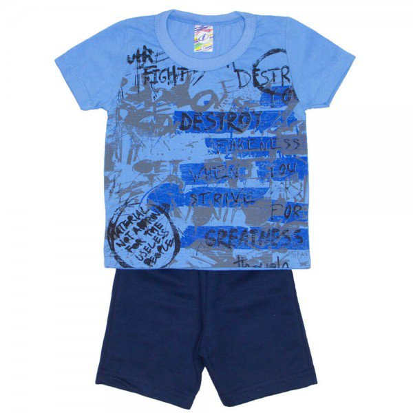 conjunto menino camiseta destroy azul e bermuda de moletinho preta 0313 02