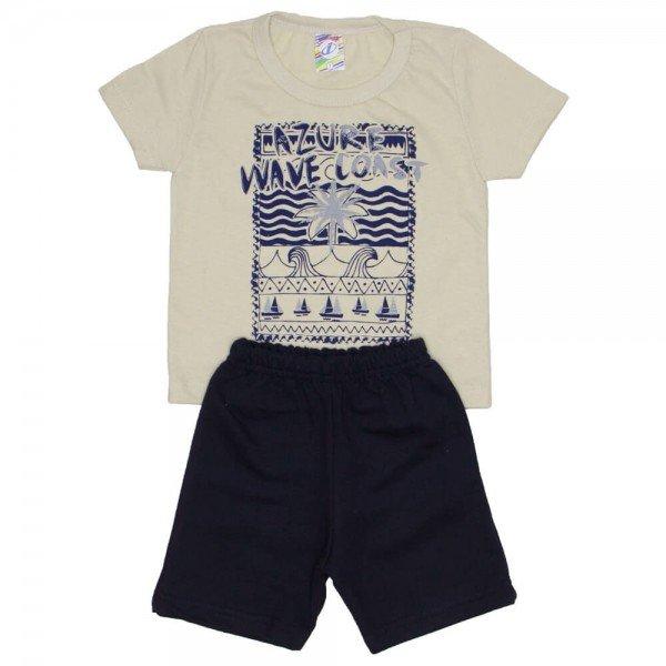 conjunto menino camiseta off azure e bermuda de moletinho marinho 0312 01