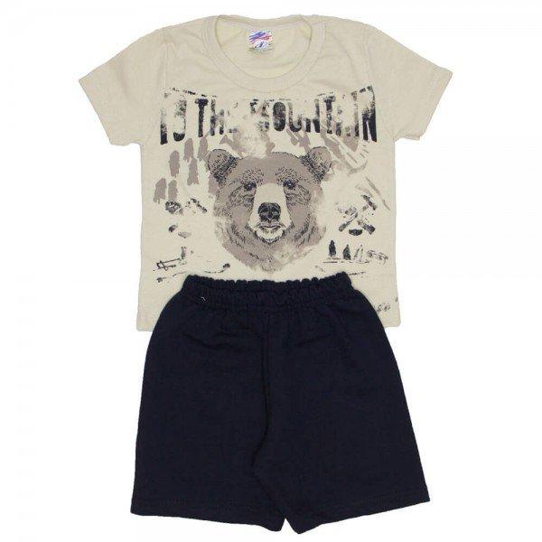 conjunto menino camiseta urso off e bermuda de moletinho preta 0315 01