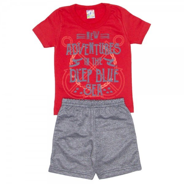 conjunto menino camiseta vermelha adventures e bermuda de moletinho mescla 0316 01