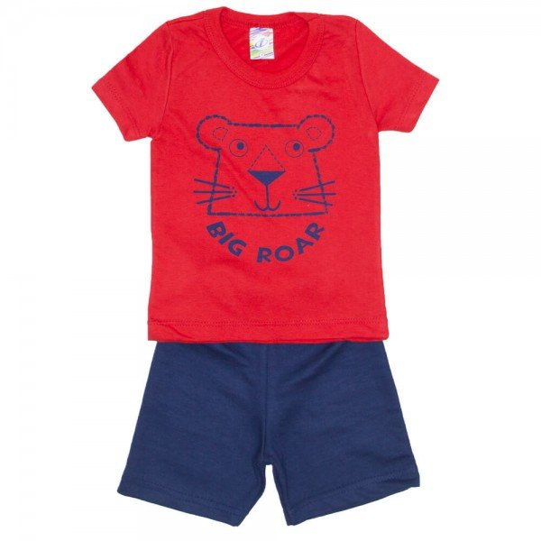 conjunto menino camiseta vermelha e bermuda de moletinho marinho 0320 02