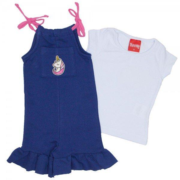 conjunto de macaquinho de moletinho marinho com blusa basica branca 4207 01
