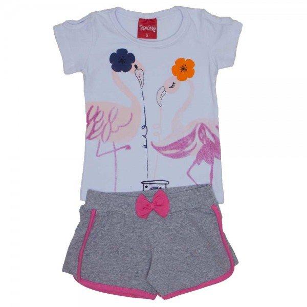 conjunto menina blusa de cotton branca e shorts mescla com laco 4204