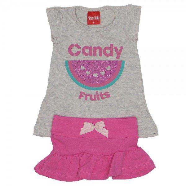 conjunto menina blusa de cotton mescla e saia tutti frutti com laco 4203 01