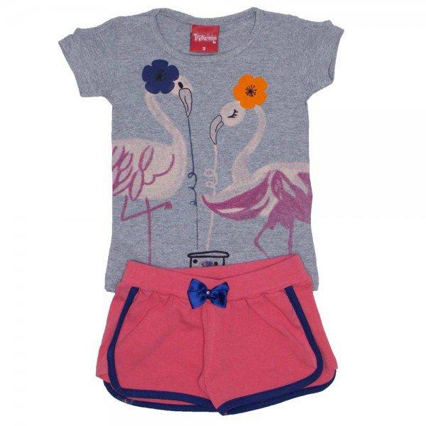 conjunto menina blusa de cotton mescla e shorts coral com laco 4204