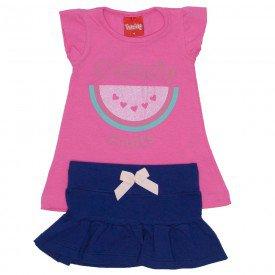 conjunto menina blusa de cotton rosa tutti frutti e saia marinho com laco 4203 01