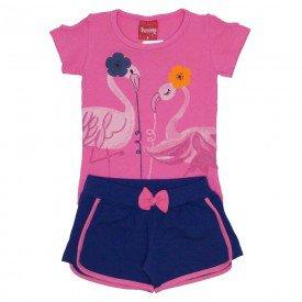 conjunto menina blusa de cotton rosa tutti frutti e shorts marinho com laco 4204