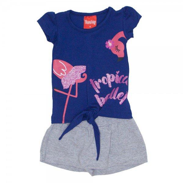 conjunto menina blusa lacinho marinho tutti frutti e shorts saia mescla 4205