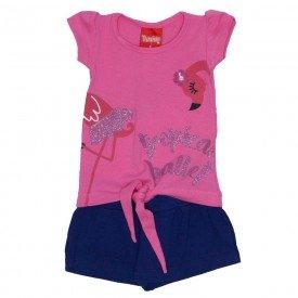 conjunto menina blusa lacinho rosa tutti frutti e shorts saia marinho 4205 01