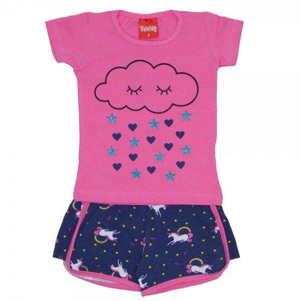 conjunto menina blusa silk glitter rosa e shorts esportivo marinho 4209