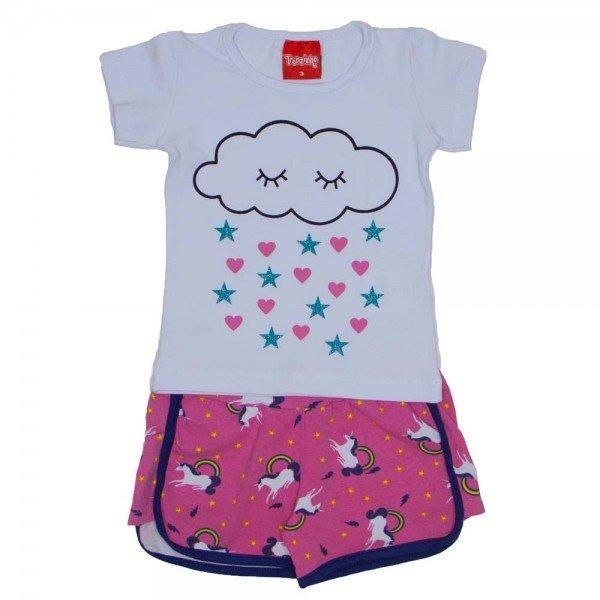 conjunto menina blusa silk glitter rosa e shorts esportivo marinho 4209 02