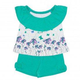 conjunto menina blusa ciganinha off white com shorts verde ale 2407 off 01