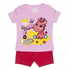 conjunto menina blusa rosa girafa com bermuda vermelha ale 2411 ros 01