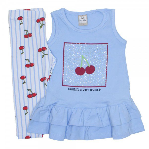 conjunto peplum cerejinha cotton azul 3366