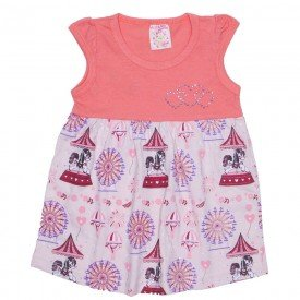 vestido salmao rosa claro de manga com estampa parque de diversoes ale 2434 sal 01