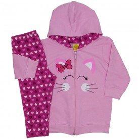 conjunto moletom gatinha rosa 9503