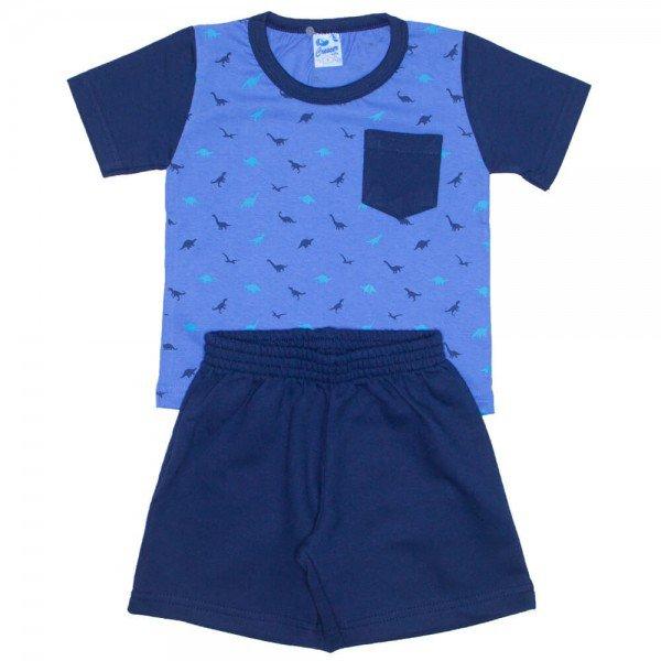 conjunto camiseta azul dinossauros com bolso e bermuda de moletinho 7618b