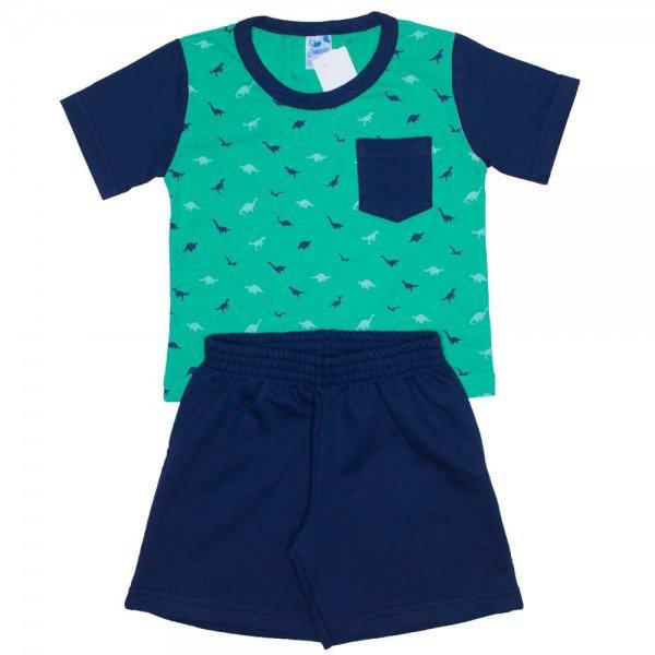 conjunto camiseta verde dinossauros com bolso e bermuda de moletinho 7618b