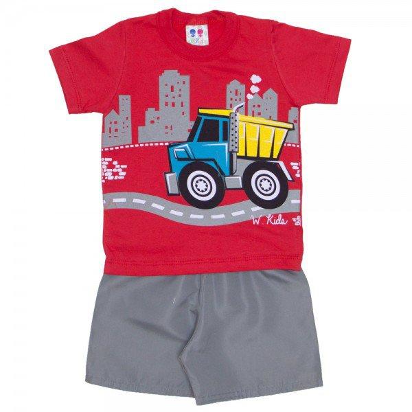 conjunto menino vermelho e shorts de tactel chumbo 271 01