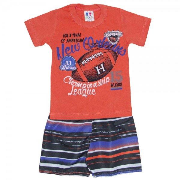 conjunto menino algodao vermelho papoula e shorts de tactel listrado 01