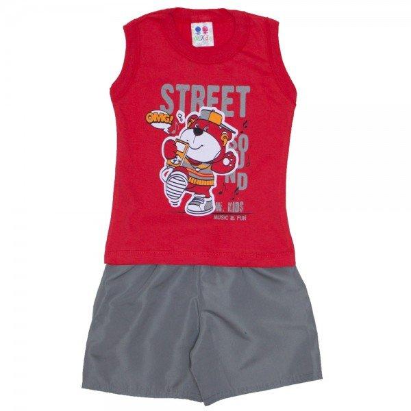 conjunto menino regata machao vermelho tomate street e bermuda de tactel chumbo 267 01