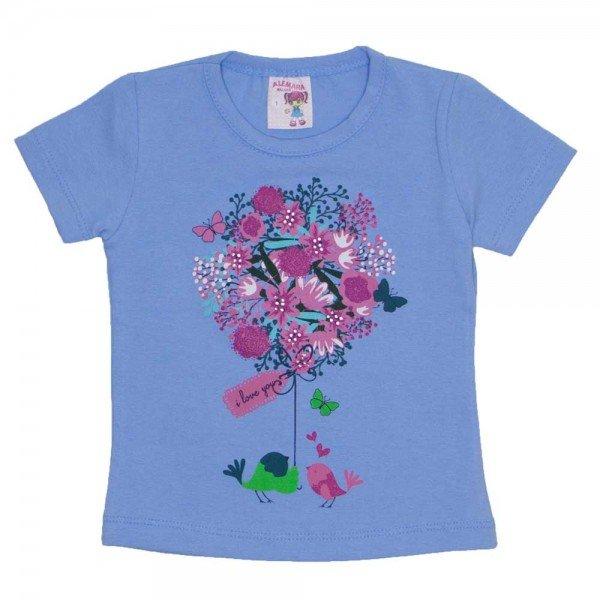 camiseta de cotton azul estampa com strass 3473