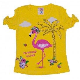 camiseta de cotton flamingo island amarela com strass e manga com laco 3474