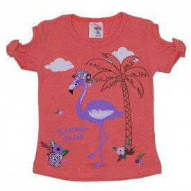 camiseta de cotton flamingo island laranja com strass e manga com laco 3474