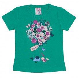 camiseta de cotton verde estampa com strass 3473