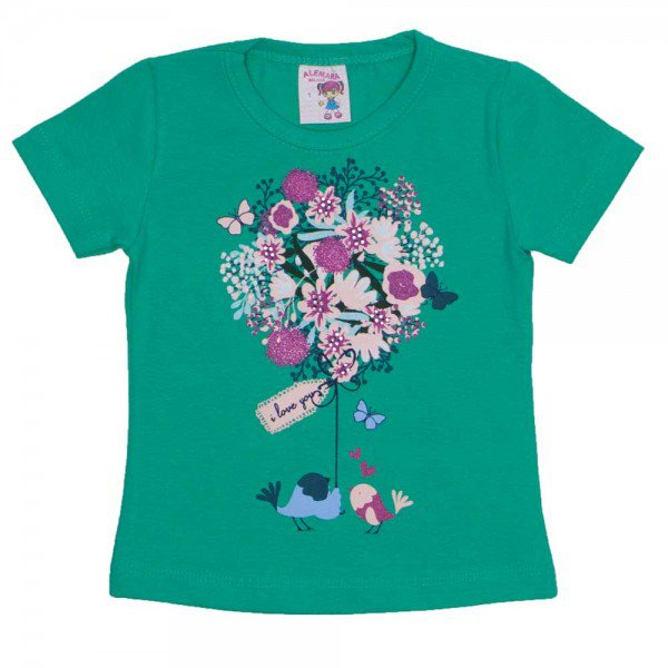 camiseta de cotton verde estampa com strass 3473