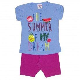 conjunto blusa azul summer com manga sobreposta e shorts de cotton pink 3464