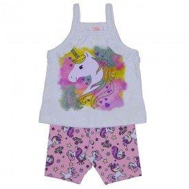 conjunto blusa de alcinha gelo unicornio e shorts ciclista de cotton rosa estampado 3468