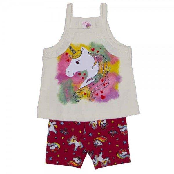 conjunto blusa de alcinha off unicornio e shorts ciclista de cotton vermelho estampado 3468