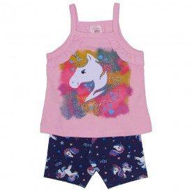 conjunto blusa de alcinha rosa unicornio e shorts ciclista de cotton estampado 3468