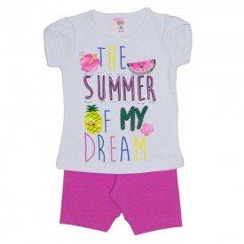 conjunto blusa off summer com manga sobreposta e shorts de cotton rosa 3464