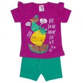 conjunto blusa pink oh summer love com shorts ciclista verde de cotton 3466
