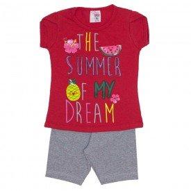conjunto blusa vermelha summer com manga sobreposta e shorts de cotton mescla 3464