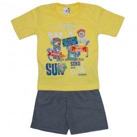conjunto menino camiseta amarela e sorts de tactel cinza