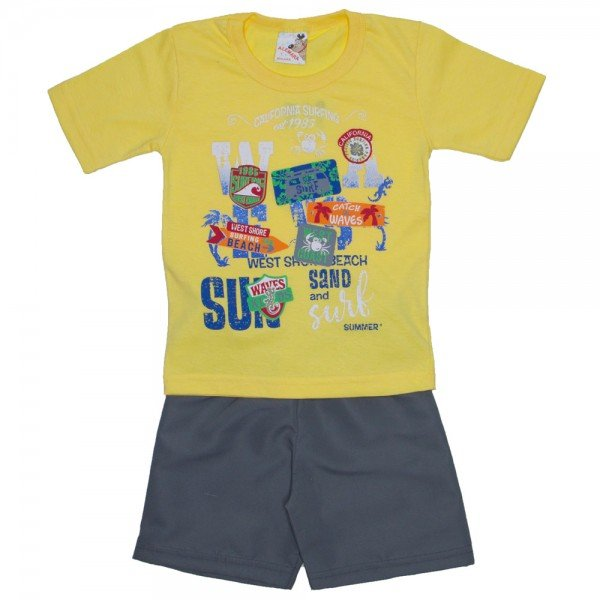 4b8bd12252 Conjunto Menino camiseta amarela e shorts de tactel cinza
