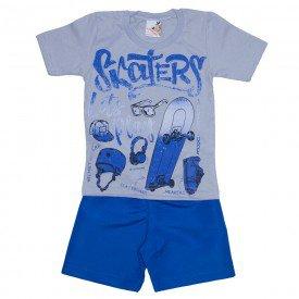 conjunto menino camiseta cinza e shorts de tactel azul royal 7461 01