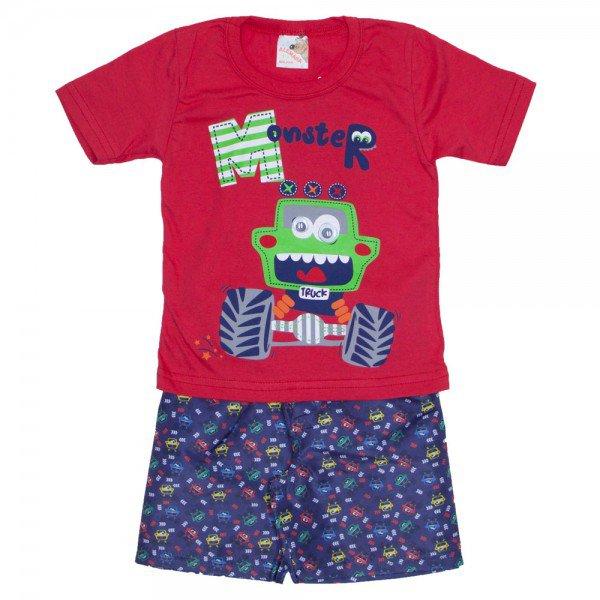 conjunto menino camiseta monster vermelha e bermuda estampada azul 7464 01