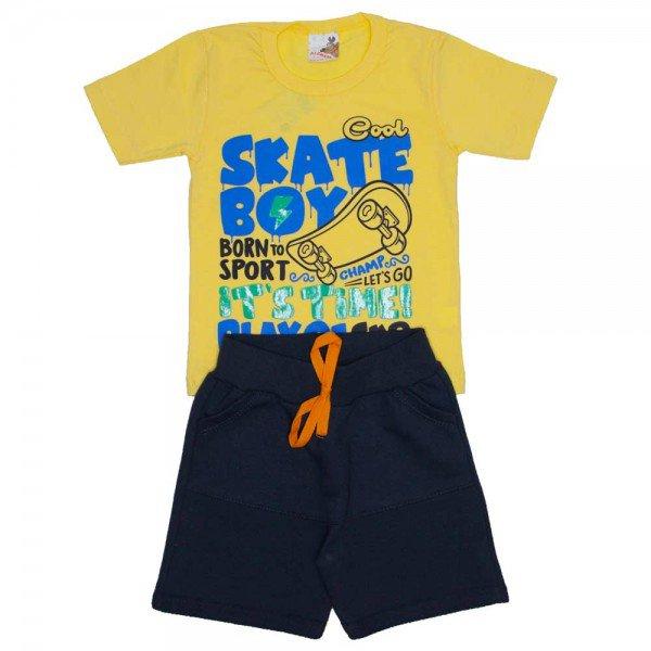 conjunto menino camiseta skate boy amarela e bermuda de moletinho chumbo 7470c