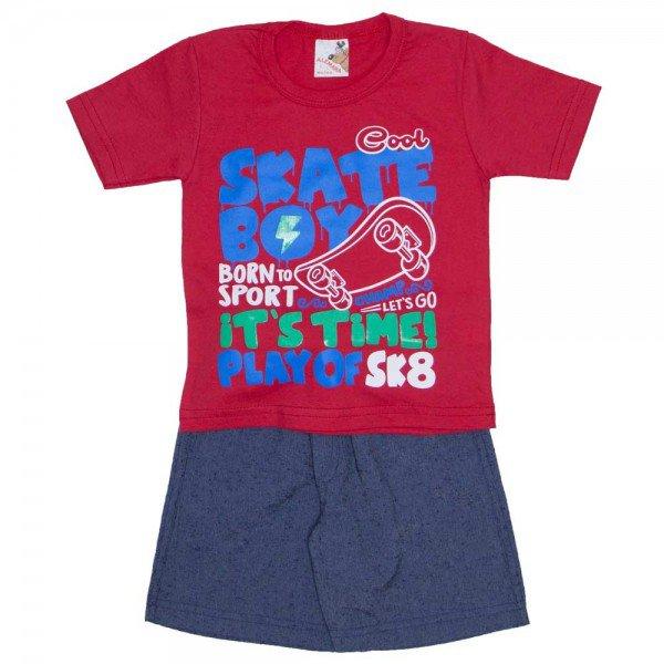 conjunto menino camiseta skate boy vermelha e bermuda chambray azul jeans com bolso braguilha e cordao 7470c 01